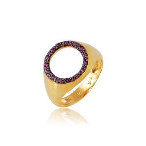 Δαχτυλίδι Chevalier Circle of Life Rubin Από Ασήμι Επιχρυσωμένο