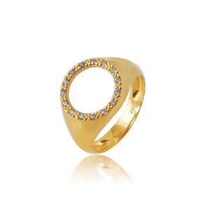 Δαχτυλίδι Chevalier Circle of Life White Από Ασήμι Επιχρυσωμένο