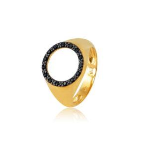 Δαχτυλίδι Chevalier Circle of Life Black Από Ασήμι Επιχρυσωμένο