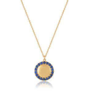 Κολιέ Circle of Life Blue Από Ασήμι Επιχρυσωμένο