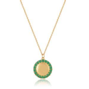Κολιέ Circle of Life Green Από Ασήμι Επιχρυσωμένο