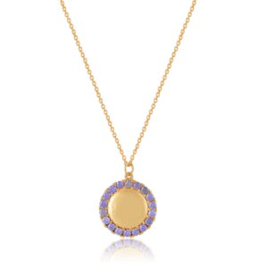 Κολιέ Circle of Life Purple Από Ασήμι Επιχρυσωμένο
