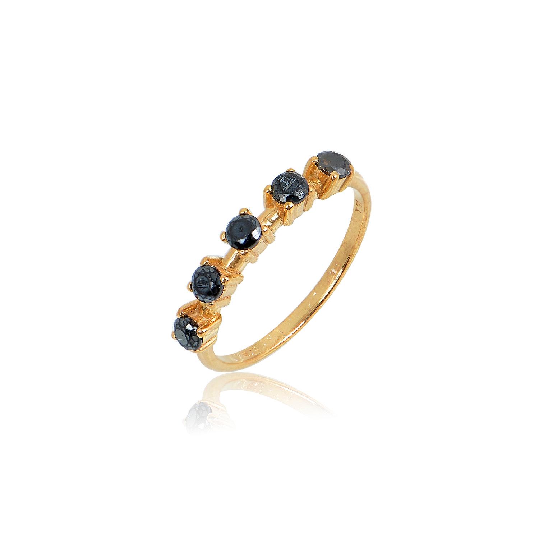 Δαχτυλίδι Aelo Black από ασήμι επιχρυσωμένο
