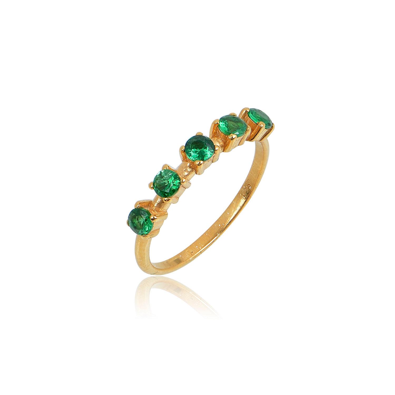 Δαχτυλίδι Aelo Green από ασήμι επιχρυσωμένο