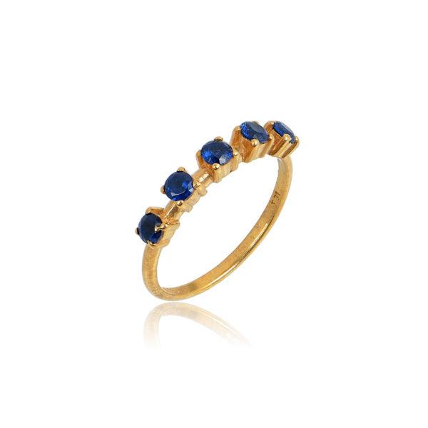 Δαχτυλίδι Aelo Blue από ασήμι επιχρυσωμένο