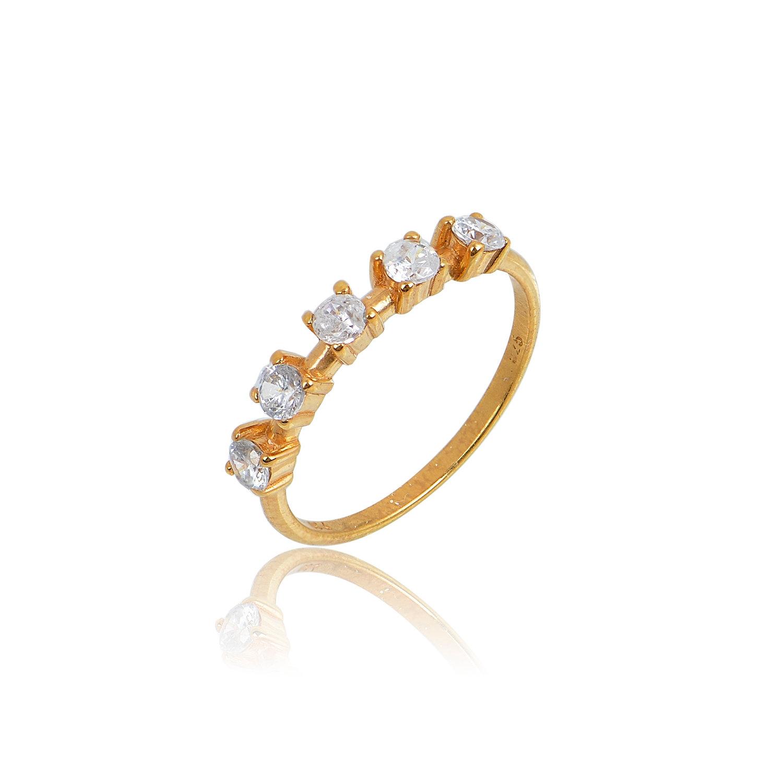 Δαχτυλίδι Aelo White από ασήμι επιχρυσωμένο