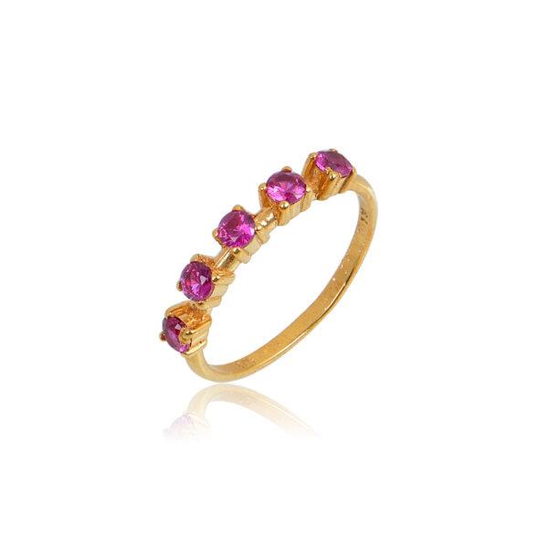 Δαχτυλίδι Aelo Red από ασήμι επιχρυσωμένο